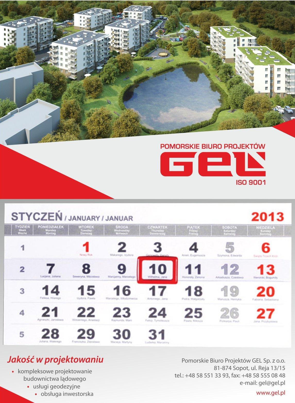 Kalendarz naścienny jednodzielny